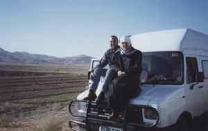 Our first day in Iran, both of us suitably covered