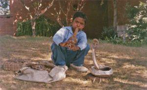 Young snake charmer