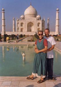 Us in front of Taj mahal