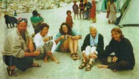 On a river side beach somewhere in the Himalayas. Some people might think that white water rafting in Nepal would be a chore but just look at those grins! (Let to right: Me, my sisters Jenny and Jaqui, Mum, and my sister Kathi)
